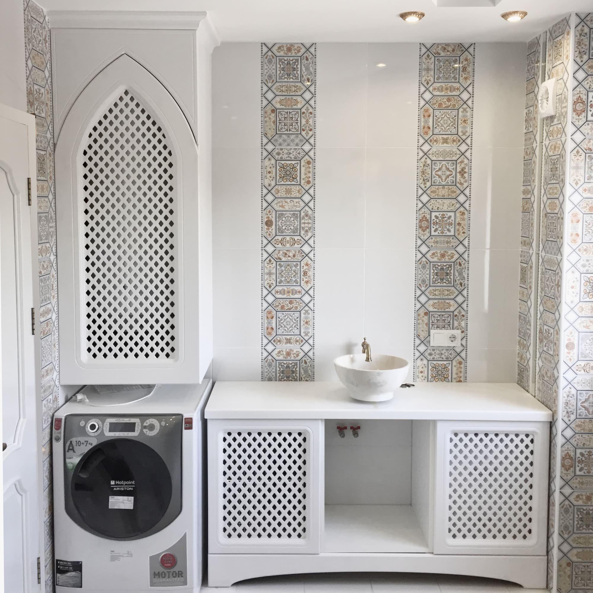 Мебель - стиральная машина в тумбе, Марокканский стиль
